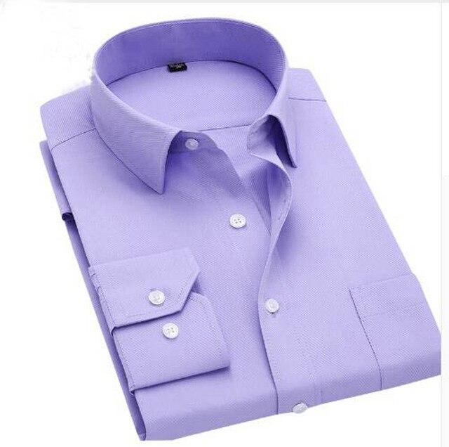 高品質ボタンダウン長袖スリムフィットメンズドレスシャツ 2018 秋デザイナー固体男性服ビジネスシャツ M-4XL