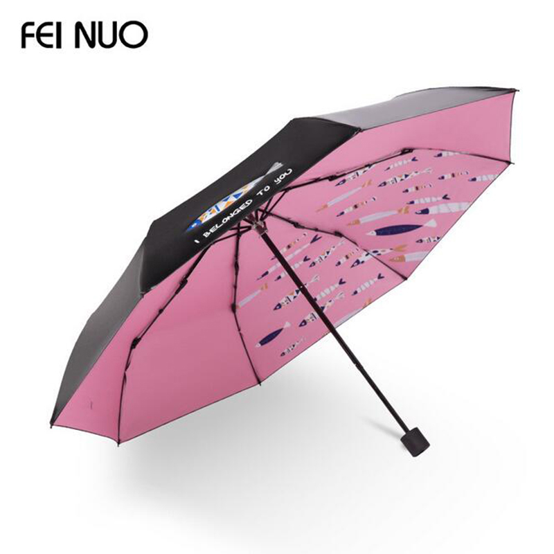 FEINUO Marque Parapluie Pluie Femmes Solaire Anti UV Forte Parapluies Pliants Poissons Style Qualité Coupe-Vent Filles Paraguas