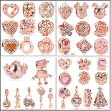 Fit Pandora Charm Bracelet Women Gift Jewelry 2019 New 1pc European Rose Gold Love Tree Present Flower Crown Clip Bead