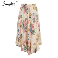 Simplee Floral Print Ruffle Long Skirt Women High Waist Maxi Skirt Female Boho Chic 2018 Summer