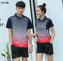 AXFAM 2017 Turn-down collar Casais montado kit calções Camisas Dos Homens e Tênis das mulheres esportes Badminton Tênis de Mesa roupas Y103