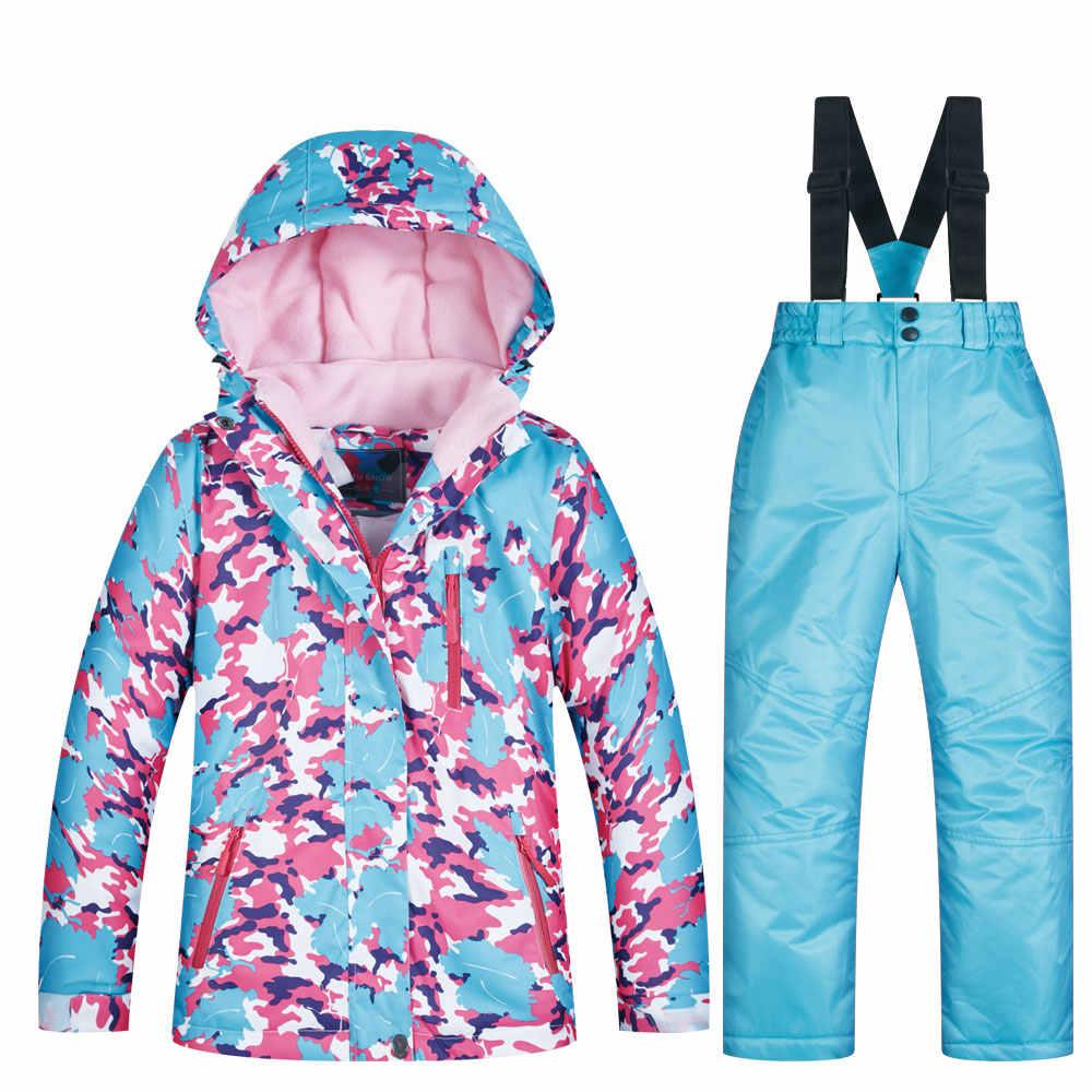 Брендовый лыжный костюм для детей, Новая высококачественная куртка и штаны, ветрозащитный водонепроницаемый для снега, костюм, зимняя Лыжная и Сноубордическая куртка для девочек