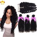 Cambodian Kinky Curly Virgin Hair With Closure Cambodian Virgin Hair Kinky Curly Hair 3pcs Afee Human Hair Bundles With Closure