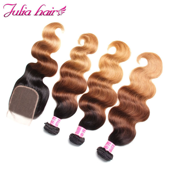 Julia Hair Ombre Bundles With Closure Brazilian Body Wave Human Hair Bundles With Closure 4*4 Lace Free Part Remy Hair 4
