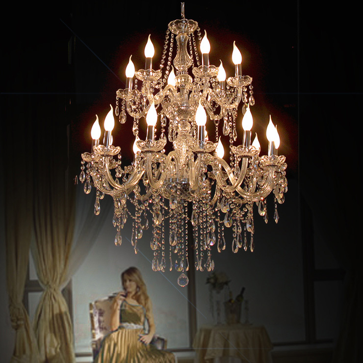 Modern Chandelier lighting Living Room Hotel Large Double Layer chandelier K9 crystal lights luxury chandelier crystal Modern