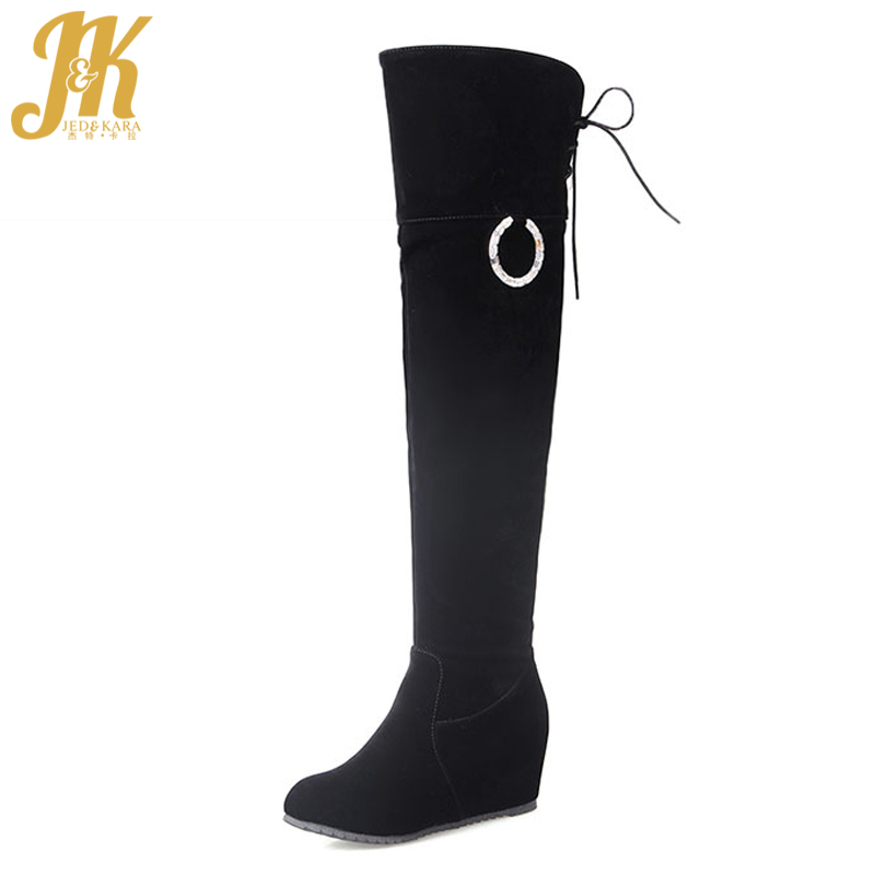 Big Size 34-43 Fashion Charm Over the Knee Boots Keep Warm Add Fur Thigh High Winter Boots Cozy Hidden Wedges Shoes Woman 5 colors high quality fur charm short boots high heels platform shoes woman big size 34 43 add fur warm fall winter boots