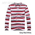 НОВОЕ Прибытие 2016 мужская с длинными рукавами хлопок stripes свитер моды и горячие пуловеры мужчины brand new бесплатно доставка