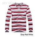 NOVA Chegada 2016 algodão listras camisola longa-sleeved dos homens homens pullover marca de moda e quente novo de frete grátis