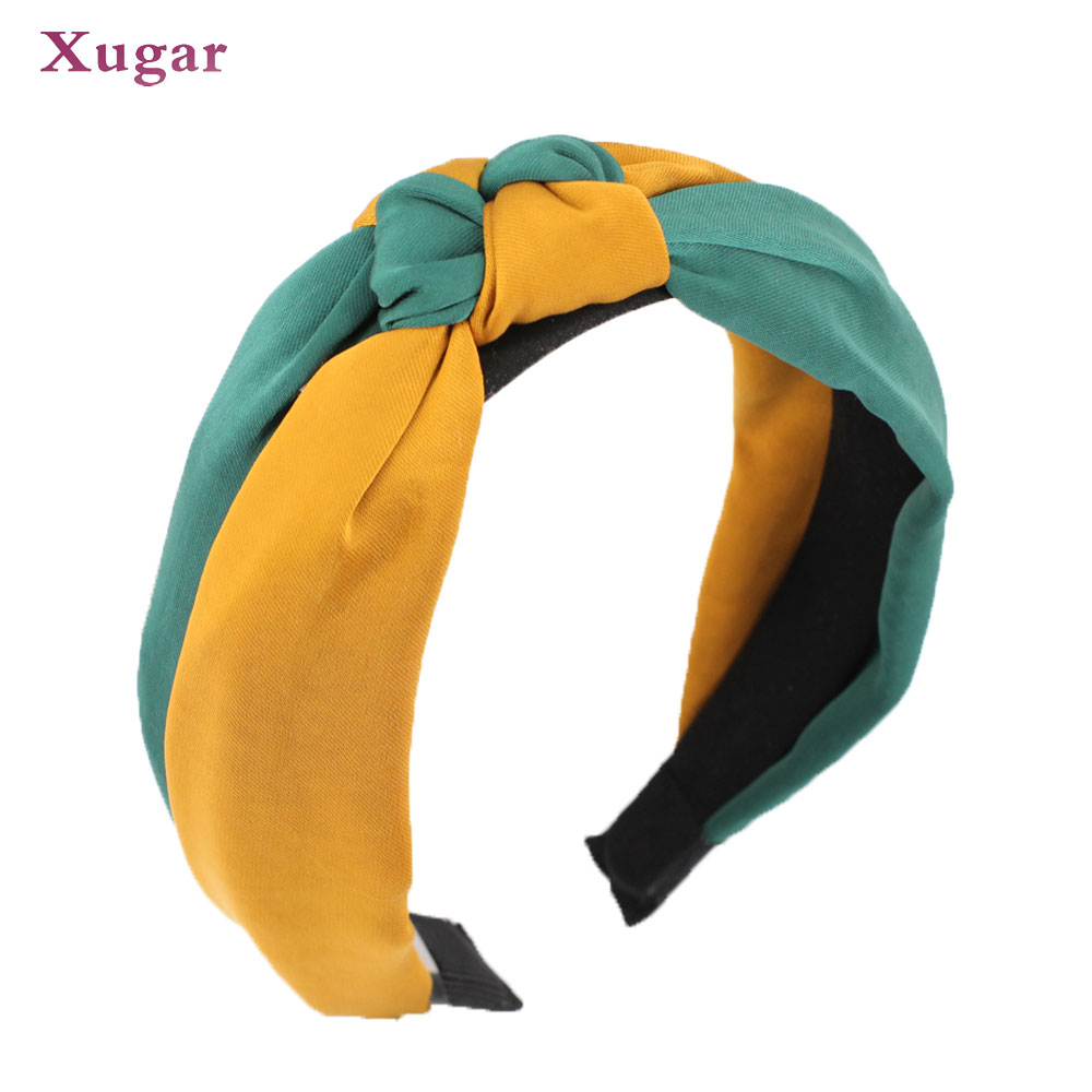 Girl's Hair Accessories Cheap Price Patchwork Cross Headband Female Lady Top Knotted Hair Band Wide Turban Girls Simple Hair Hoop Women Hair Accessories Headwear Fashionable And Attractive Packages