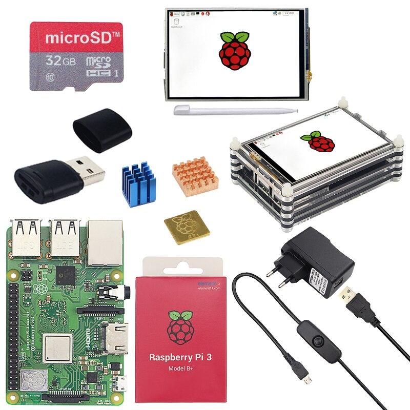 Raspberry Original Pi 3 modèle B + kit + écran TFT 3.5 pouces + boîtier acrylique + adaptateur secteur 2.5A + dissipateur de chaleur pour Raspberry Pi 3B Plus