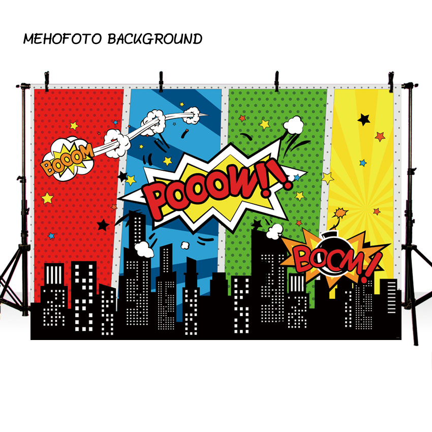 7X5FT photography backdrop Colorful Superhero theme children birthday background photo studio new design camera fotografica wire