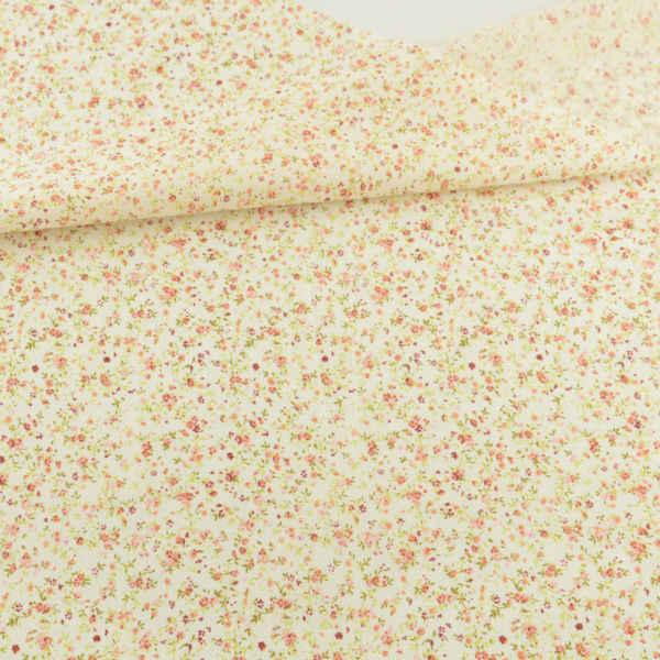 100% światło żółte tkaniny bawełniane drukowane Mini kwiaty i liść projekt Tela dzieło sztuki Patchwork tekstylia domowe Fat Quarter Doll's DIY