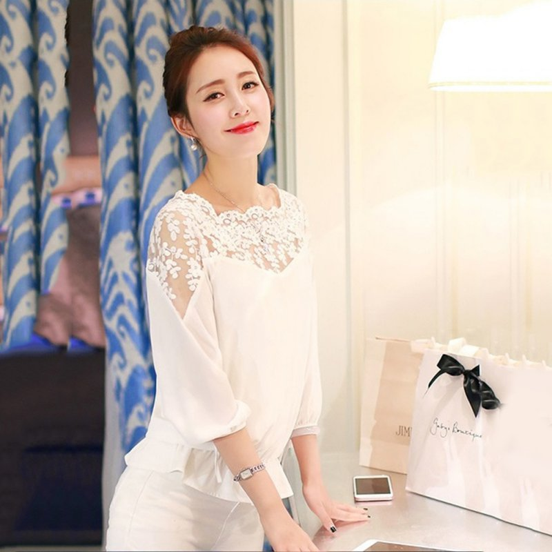 52105a130d75c0 Aliexpress.com : Buy Fashion Women Summer Loose Casual Chiffon Long Sleeve  Lace Black White Shirts Tops Blouse from Reliable blouse fashion suppliers  on ...