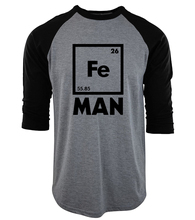 Iron Science three-quarter sleeve T Shirt Funny 2017 men cotton raglan camisetas Chemistry tee Shirt homme Fe Periodic Table top