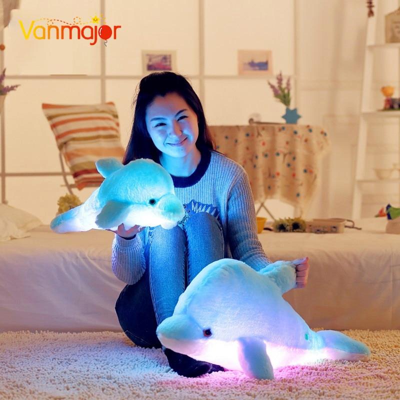 1PCS 45CM / 70CM Led Light Pillow Cute Animal Dolphin მანათობელი ბალიშის მულტფილმი Plush Toy ბავშვთა დაბადების დღის საშობაო საჩუქარი