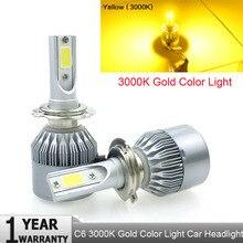 C6 H7 H4 светодиодный H13 H11 H1 9005 9006 HB3 H3 COB 72 Вт 7600LM фары автомобиля лампы фара туман белый свет 3000 К желтый