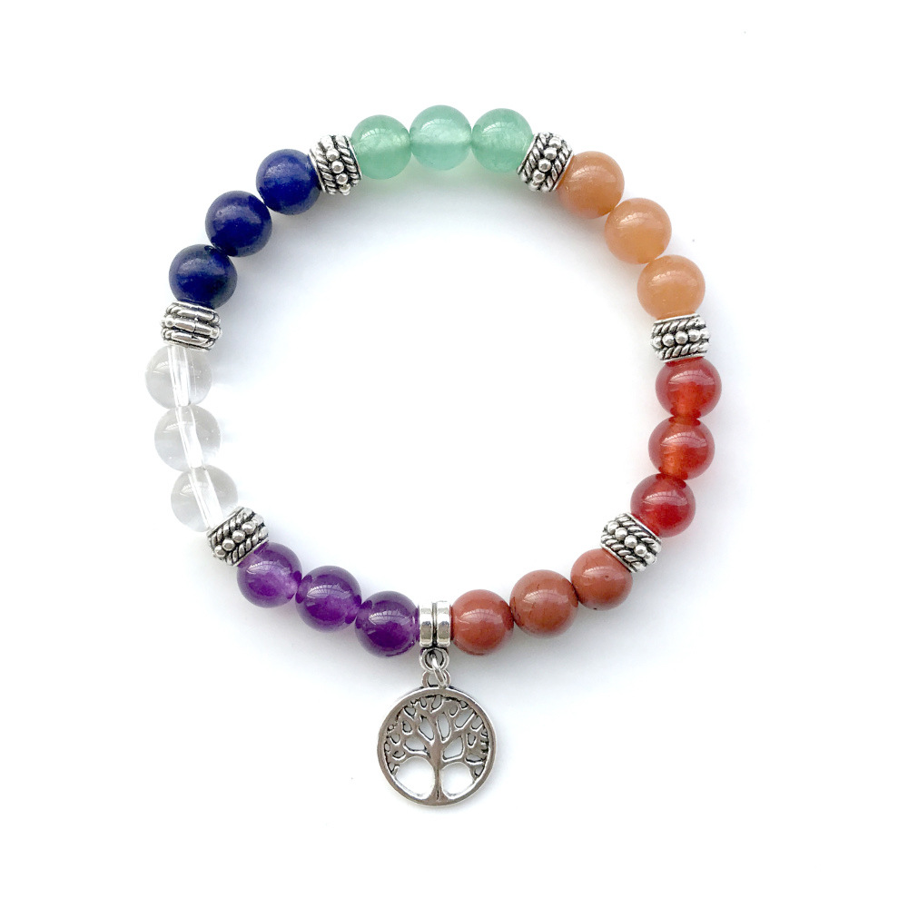 2019 Yoga 8mm 7 Chakra Tree Of Life Charm Bracelet Boho Jewelry Men Natural Stones Beads Bracelets & Bangles For Women Wholesale To Have Both The Quality Of Tenacity And Hardness