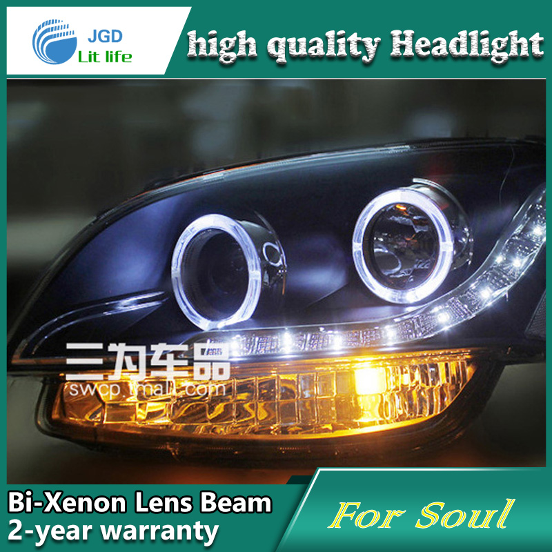 Car Styling Head Lamp case for Kia Soul 2009 Headlights LED Headlight DRL Lens Double Beam Bi-Xenon HID car Accessories hireno headlamp for 2016 hyundai elantra headlight assembly led drl angel lens double beam hid xenon 2pcs