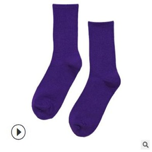 Image 5 - 14 PCS = 7 คู่ถุงเท้าผู้หญิงฤดูใบไม้ร่วงและฤดูหนาวใหม่ผ้าฝ้ายสีสุภาพสตรีสีทึบถุงเท้าผู้หญิง