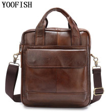YOOFISH  Genuine Cowhide Leather Shoulder Bag Small Messenger Bags Men Travel Crossbody Bag Handbags New Fashion Men Bag brand women bag genuine leather shoulder bags vintage men crossbody bag designer natural cowhide small square travel bag new