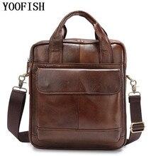 цены YOOFISH  Genuine Cowhide Leather Shoulder Bag Small Messenger Bags Men Travel Crossbody Bag Handbags New Fashion Men Bag