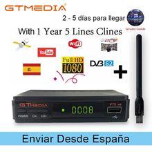 V7S freesat HD caixa de TV Receptor de TV Via Satélite decodificador DVB-S2 + Receptor USB Wfi com linhas 5 Europa conta Cline apoio powervu