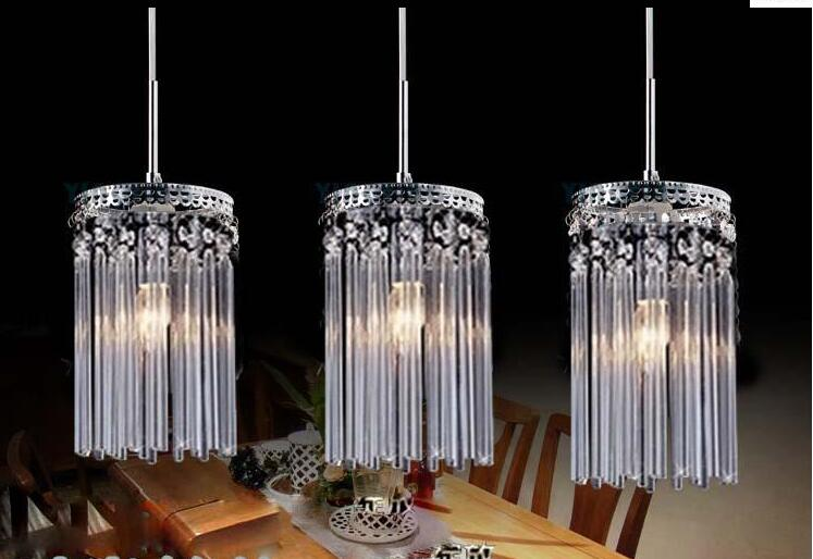 E27 K9 Crystal glass clear pendent light lamp lighting fixture droplight bedroom dining room gift Crystal combination 3 heads ZA dining room study ceiling light lamp lighting bedroom hotel e27 droplight free shipping 3 heads cage design k9 crystal