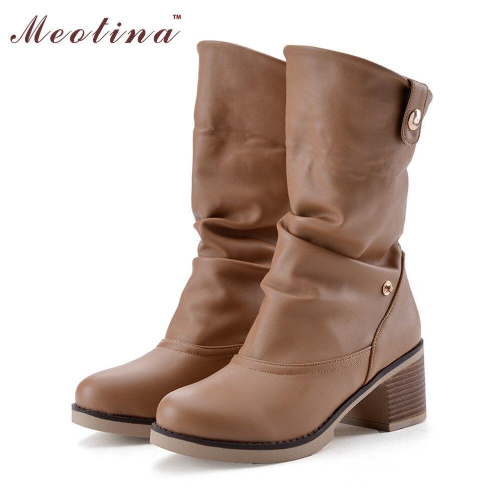 Vintage font b Women b font Boots Western Shoes font b Women b font Chunky Mid