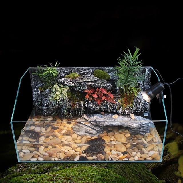 Aquatic Turtle Tank Kit Aquarium Vivarium With Waterfall Background