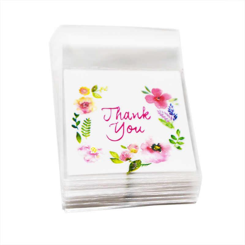 50 Pcs/100 pcs หัวใจดอกไม้ Cellophane ถุง OPP ของขวัญงานแต่งงาน Self Adhesive ถุงพลาสติกเบเกอรี่แพคเกจกิจกรรม party Supplies