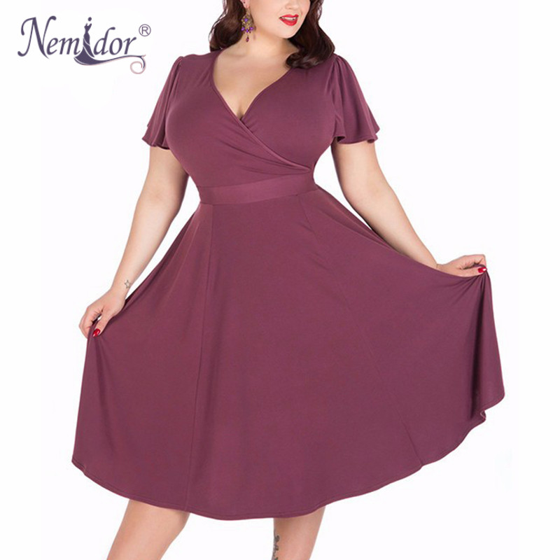 Nemidor Women Sexy V-neck Short Sleeve 50s Party A-line Dress Vintage Stretchy Midi Plus Size 7XL 8XL 9XL Cocktail Swing Dress 2