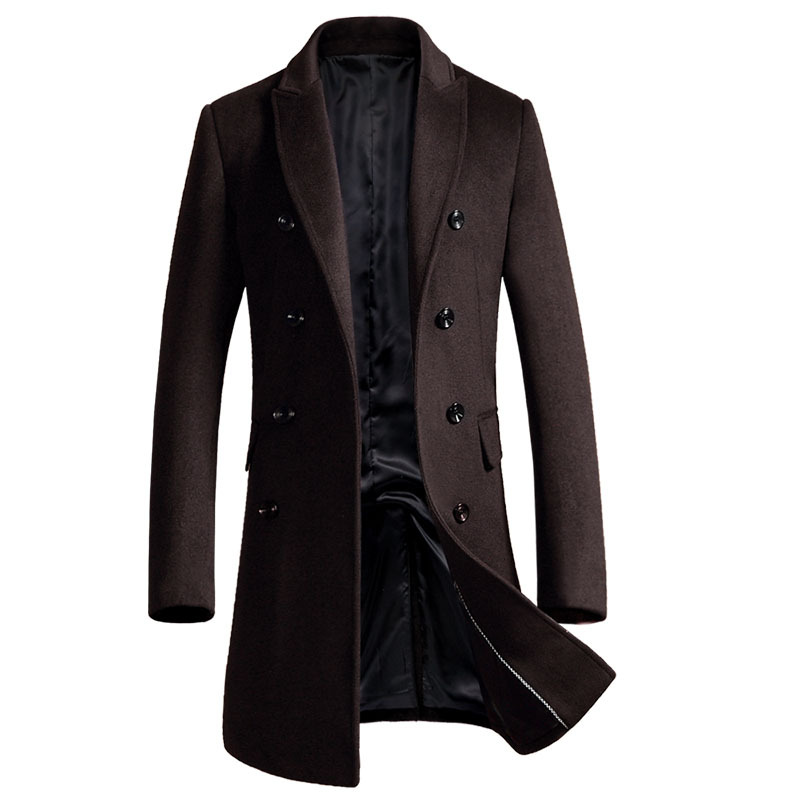 Black Gray Brand Double-breasted Wool Coat Men Winter Thick Warm Warm Luxury Business Casual Men's Slim Jacket Coat