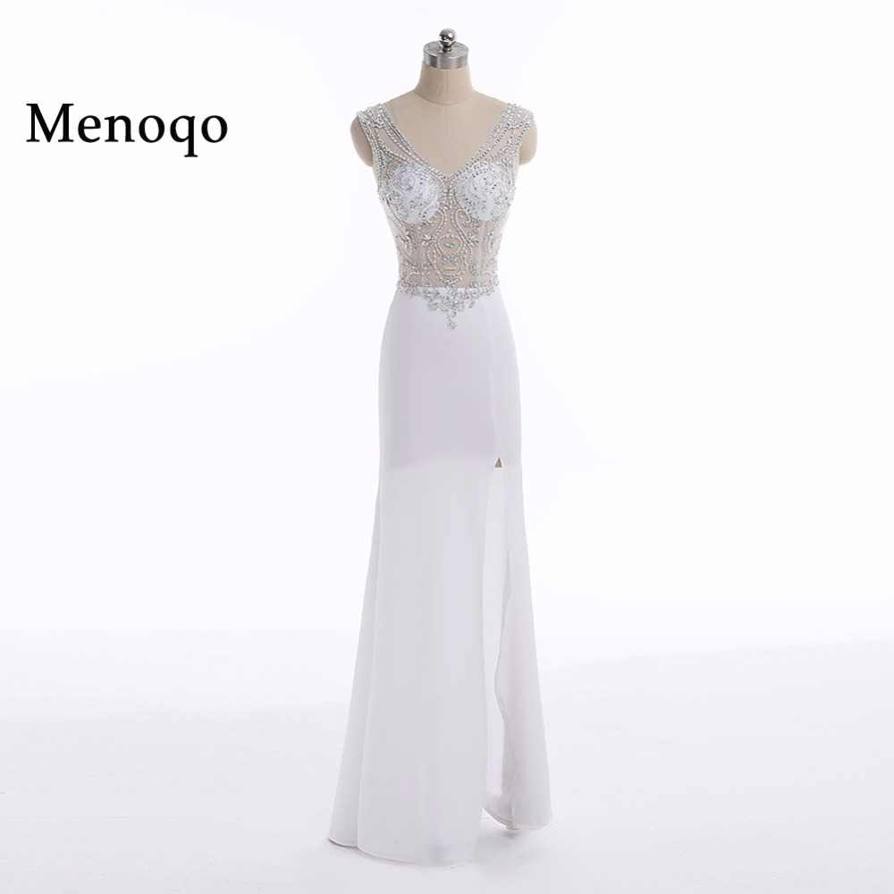 Menoqo White Mermaid Sexy   Prom     Dresses   2018 Side Slit Evening Gowns Formal Women Robe De Soiree Longue Party Gowns Gala Jurken