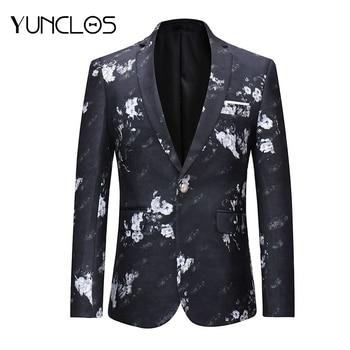 YUNCLOS 2018 Floral Men Suit Jacket Spring One Button White Flower Print Black Blazer Casual Style Slim Fit Fashion