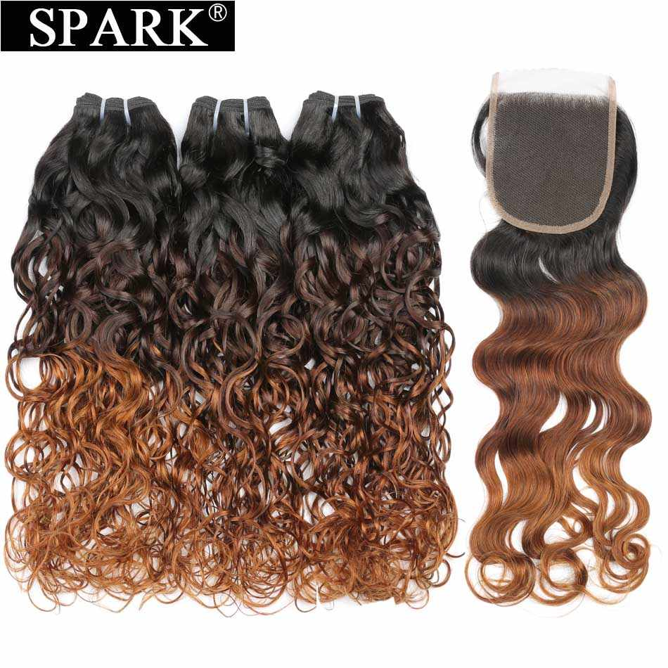 Spark Ombre Human Hair Brazilian Water Wave Human Hair Bundles With Closure 100% Remy Hair Human Hair Closure With Bundles L