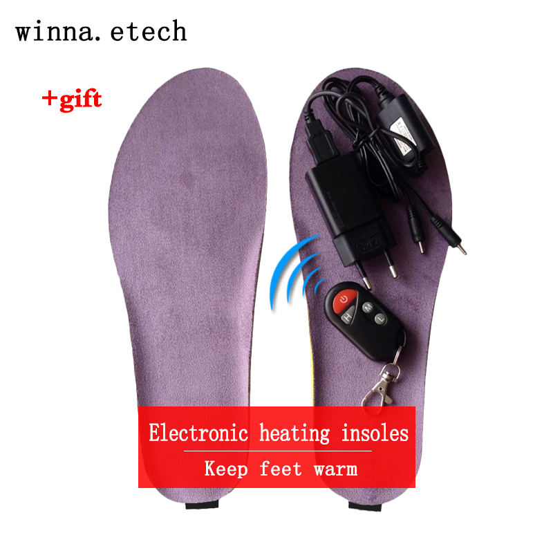 NEW USB electronic heating insoles winter remote control insoles keep feet warm camping hiking insoles Purple