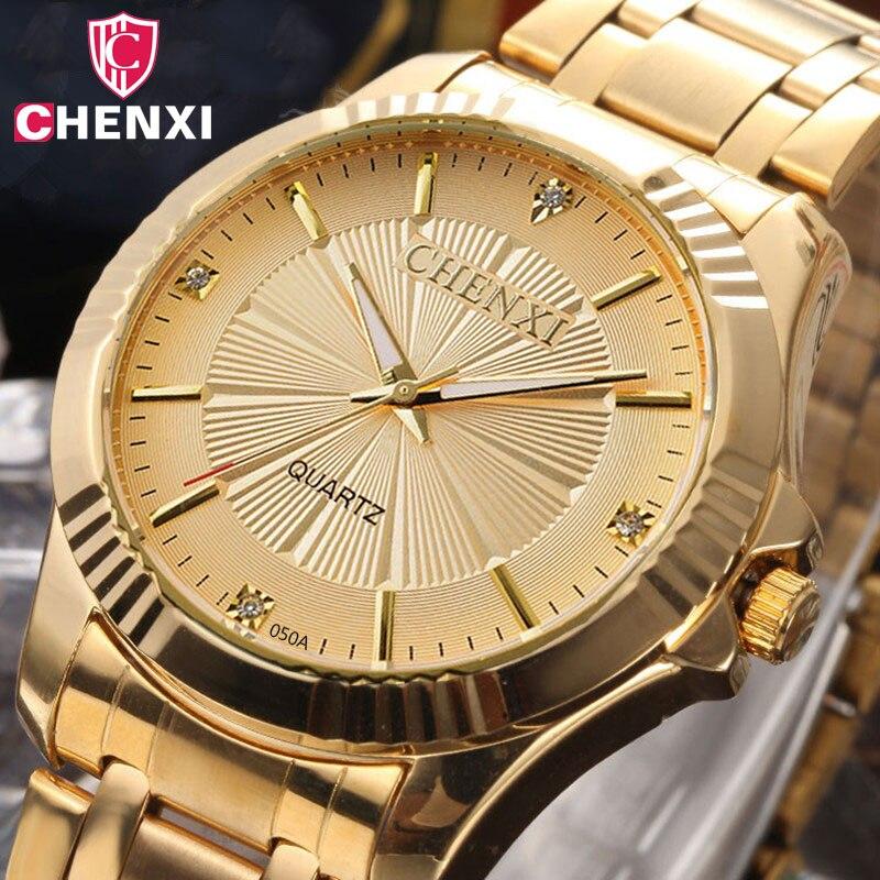 CHENXI Luxus Marke Mann Gold Kleid Uhren Edelstahl Einzigartige Goldene Frau Mann-quarz-uhr Armbanduhr Wasserdicht 050A
