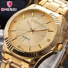 CHENXI Роскошные Брендовые мужские Золотое Платье часы из нержавеющей стали уникальные золотые женские и мужские Бизнес Кварцевые наручные часы водонепроницаемые 050A
