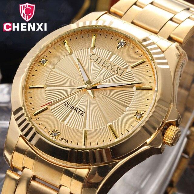 f1afd856201 CHENXI Marca De Luxo Homem Relógios Vestido De Ouro de Aço Inoxidável Única  Mulher Dourada Homens