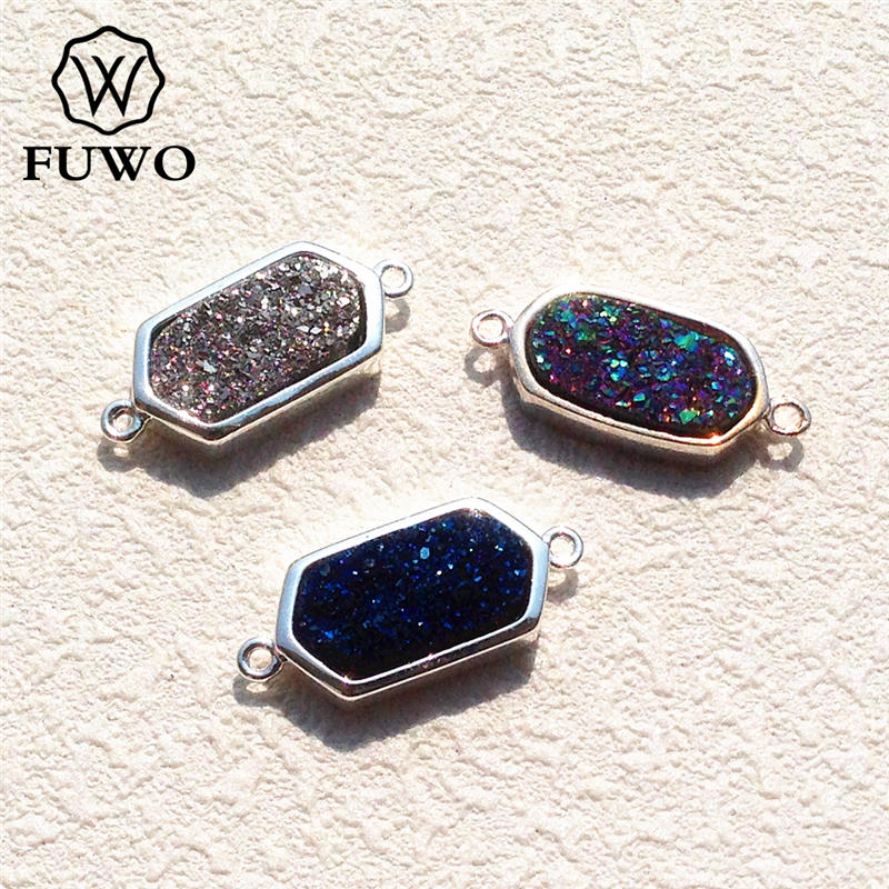 Blue Natural Agate Slice Silver Plated Fashion Connector Make DIY