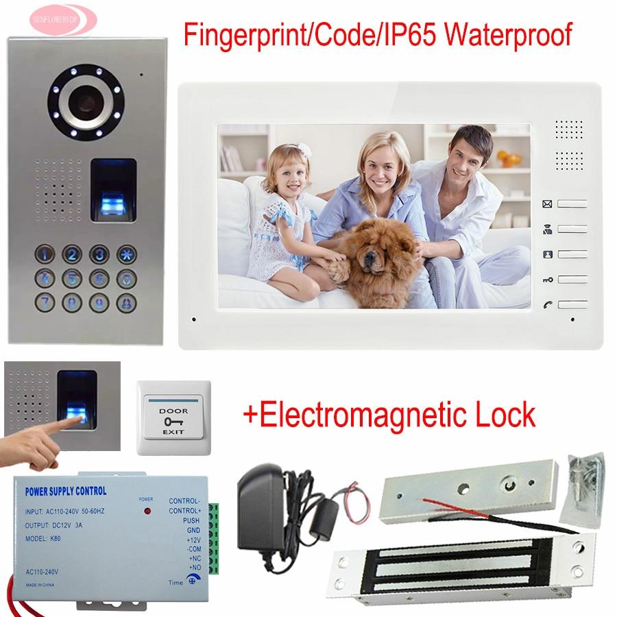 New Wired 7 TFT Screen Video Door Phone Intercom Entry System Fingerprint /Password Unlock Doorbell Video+Electromagnetic Lock