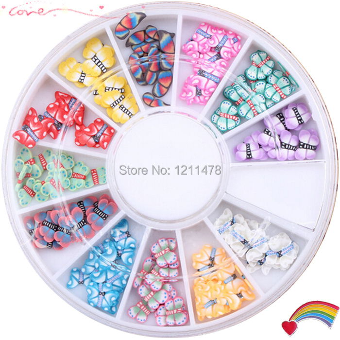 Diy nail beauty butterfly nail art decorations sticker polymer clay ...