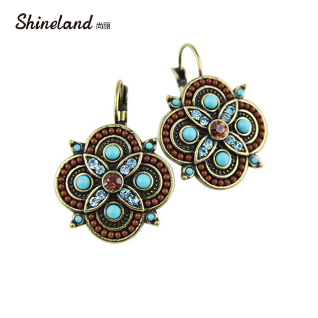 2018 New Trend Jewelry Sterling Silver Clip On Earring Vintage Crystal Multicolor Beads Clover Statement