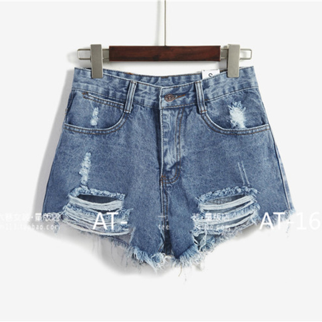 Korean version of the summer and banana flower embroidery cotton curling plus size casual female waist denim shorts