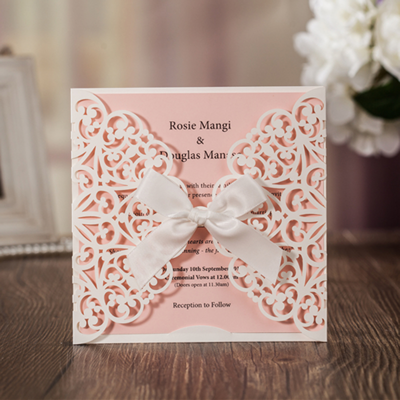(10 pieces/lot) Wishmade New Elegant Wedding Invitations Laser Cutting Invitation Card For Marriage Engagement Party CW6177