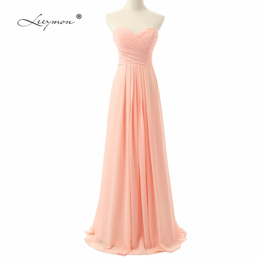 Vrais échantillons chérie décolleté une ligne en mousseline de soie robe de demoiselle d'honneur longue plissée robe de demoiselle d'honneur pas cher robe de soirée de mariage RE05
