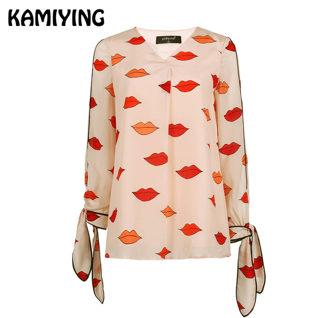 KAMIYING Brand Real Silk Shirts Women Office Lady Blouse Autumn Workwear Lace Up Sleeve Shirt Top Formal Clothes PKHC876