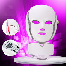 LED Photon Therapy Beauty Machine Skin Rejuvenation LED Facial Neck Mask With 7 Colors Micro-current For Wrinkle Acne Removal