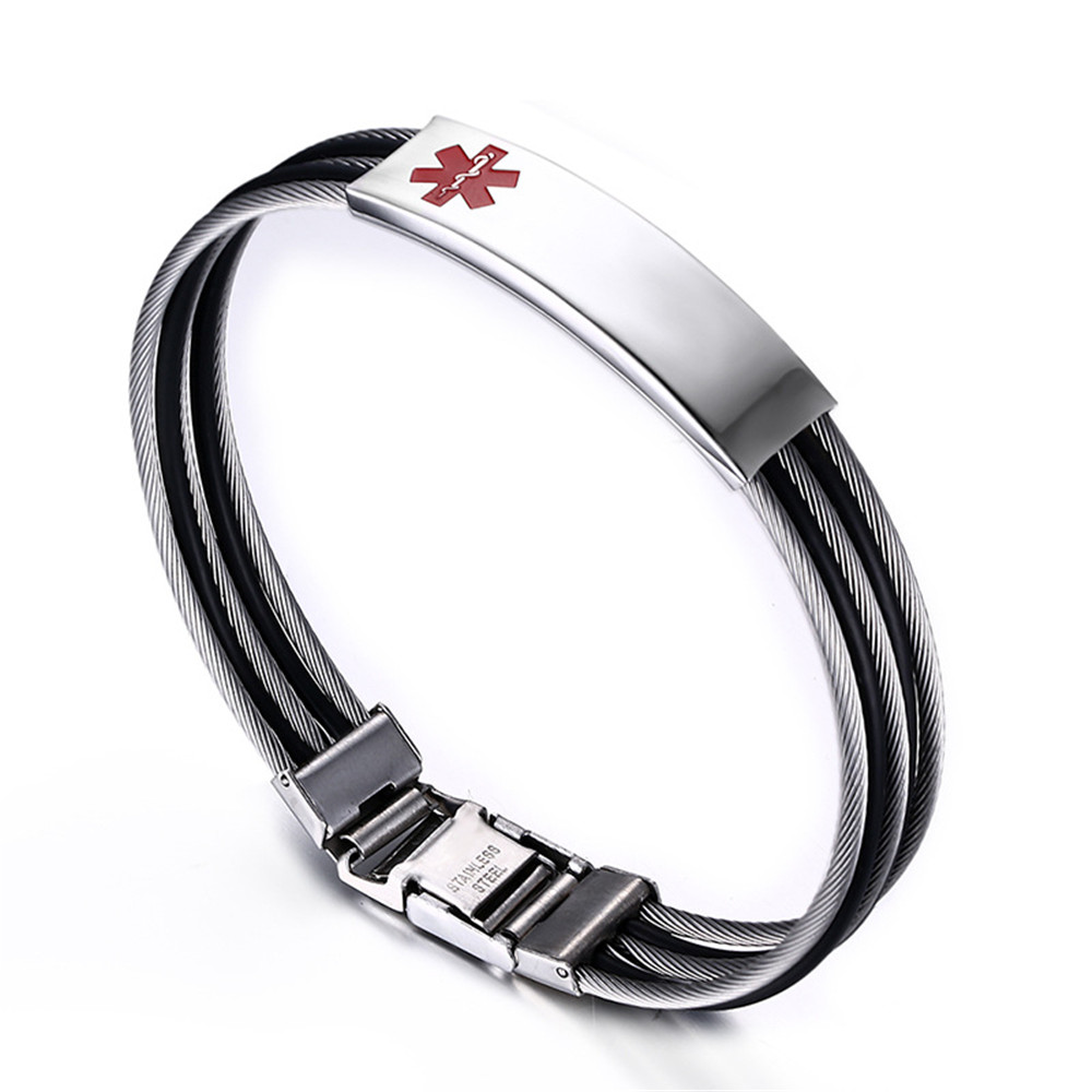 Stainless Steel Mens Rope Medical Alert Bracelet