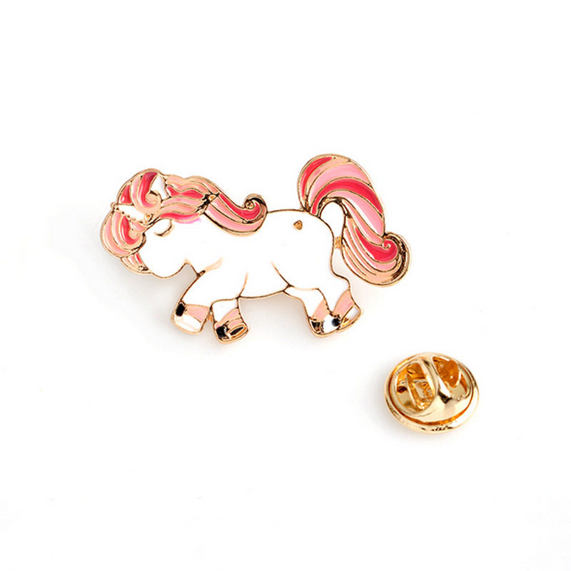 Cartoon animal cute horse unicorn metal brooch button pins denim jacket pin jewelry decoration badge for clothes lapel pins